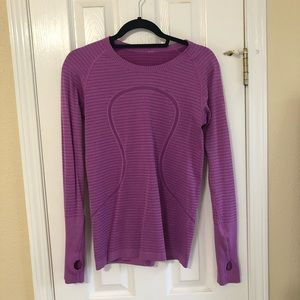 Swiftly Tech Long Sleeve Ultraviolet rugby stripe